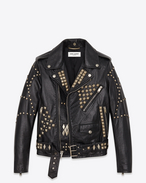 Classic Motorcycle Jacket in Black Leather and Silver-Toned Metal Studs