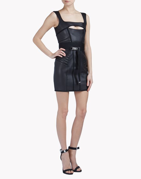cyclone leather dress dresses Woman Dsquared2
