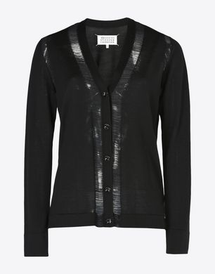Wool cardigan with loose-knit detail
