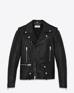 Classic Motorcycle Jacket in Black Washed Leather