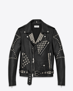 Classic Studded Motorcycle Jacket in Black Leather and Silver-Toned Metal