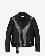 Western Studded Motorcycle Jacket in Black Leather and Silver-Toned Metal