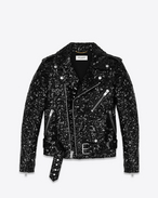 Classic Motorcycle Jacket in Black Leather and Sequins