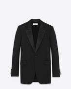 Iconic LE SMOKING 70's Jacket in Black Wool Crêpe