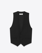 Iconic LE SMOKING Vest in Black Wool Crêpe