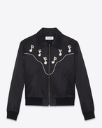 ROCK Bomber Jacket in Black Raw Satin