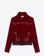 Musical Notes Teddy Jacket in Dark Red Viscose and Cupro Velour