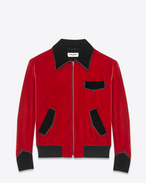 Military Teddy Jacket in Red Viscose and Cupro Velour