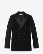 Iconic LE SMOKING 70's Jacket in Black Viscose and Cupro Velour