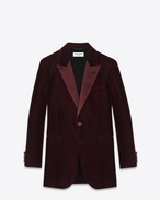 Iconic LE SMOKING 70's Jacket in Bordeaux Viscose and Cupro Velour
