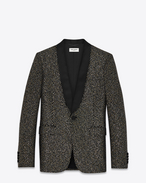 Iconic LE SMOKING 70's Sequins Jacket in Black, Gold and Silver Woven Polyester and Virgin Wool