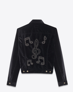 Jean Jacket in Black Velour and Silver-Toned Metal