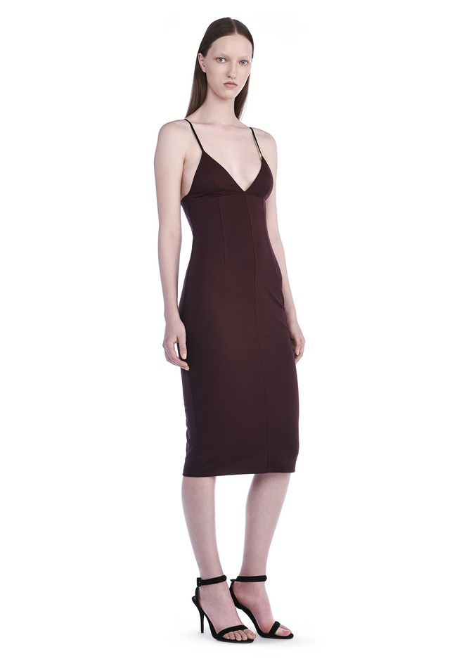 T by ALEXANDER WANG new-arrivals LUX PONTE FITTED SPAGHETTI STRAP DRESS