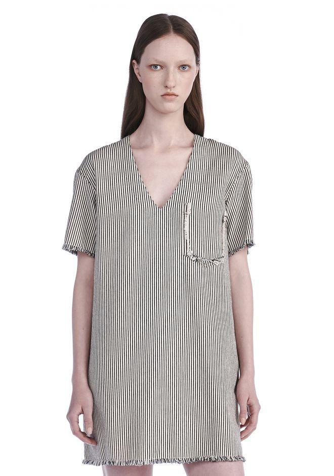 T by ALEXANDER WANG Short Dresses FRAYED STRIPED V-NECK DRESS