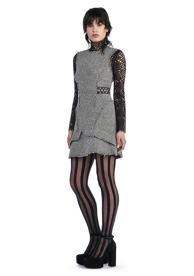 ALEXANDER WANG Short Dresses FITTED TWEED PEPLUM DRESS