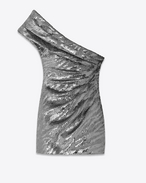 sculptural one-shoulder mini dress in silver tiger embroidered sequins