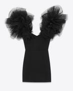 Mini-robe aux épaules superposées en sablé de laine noir