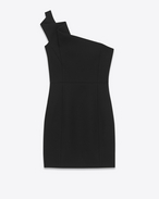 Pleated Bustier Mini Dress in Black Wool Sablé