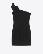 Mini-robe bustier plissée en sablé de laine noir