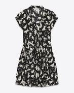 Robe lavallière BABYDOLL en crêpe de soie à imprimé horoscope noir et blanc cassé