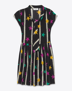 BABYDOLL Lavaliere Dress in Black and Multicolor Stars and Spray Paint Printed Silk Crêpe
