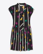 Robe lavallière BABYDOLL en crêpe de soie à imprimé étoiles et peinture en bombe noir et multicolore