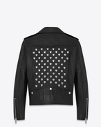 Heart Studded Motorcycle Jacket in Black Leather and Silver-Toned Metal