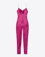 spaghetti strap jumpsuit in fuchsia polyamide and elastane sequins