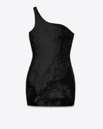 one-shoulder mini dress in black viscose, polyamide and elastane knit and sequins