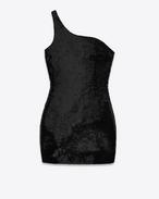 Mini-robe asymétrique en viscose, polyamide, élasthanne et sequins noirs