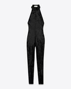 combinaison dos nu en sequins de polyamide et élasthanne noirs