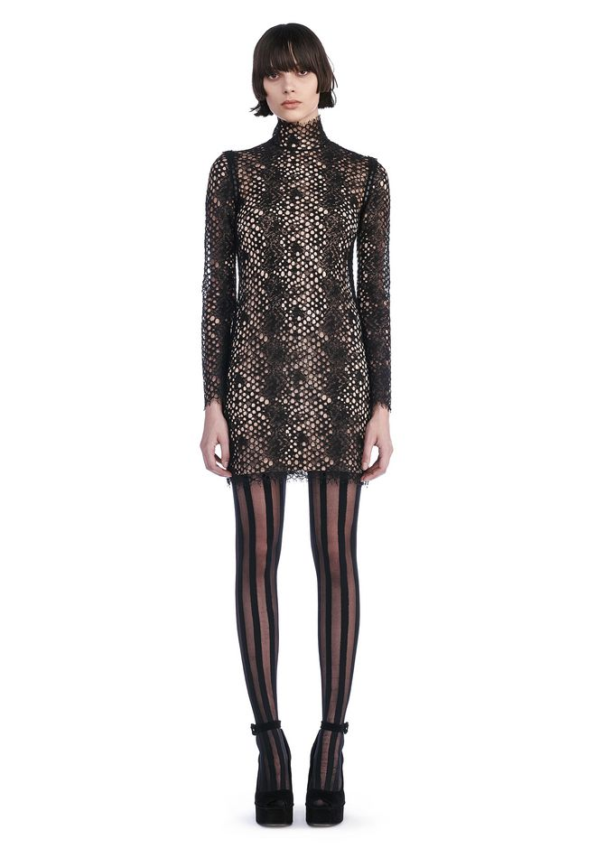 ALEXANDER WANG Short Dresses LACE LONG SLEEVE MINI DRESS
