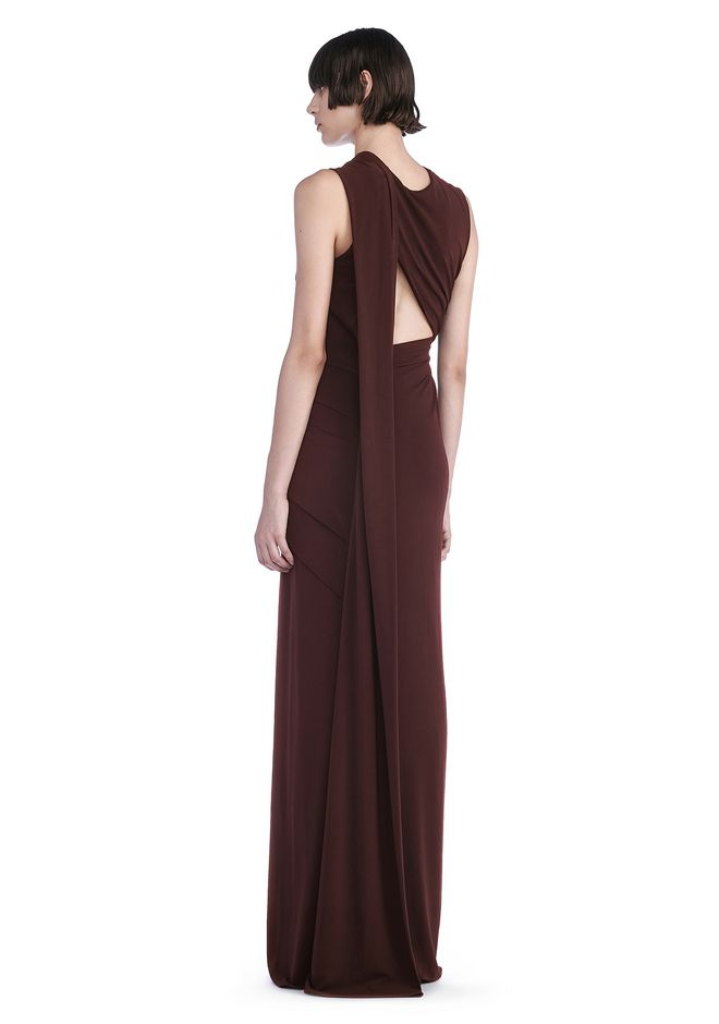 ALEXANDER WANG 3/4 Length dresses ASYMMETRIC DRAPED GOWN WITH BACK CUT OUT