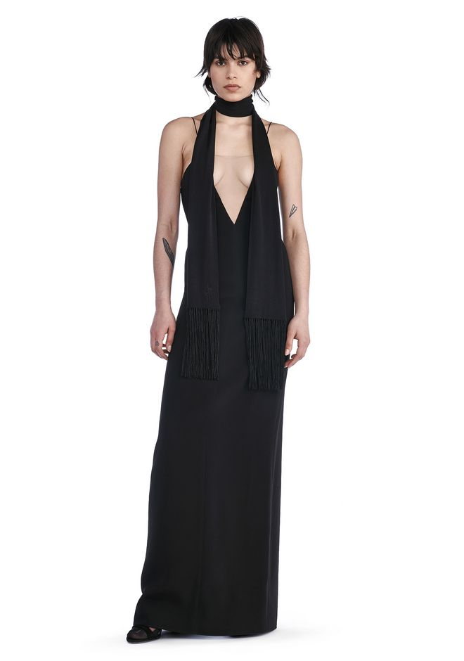 ALEXANDER WANG Long dresses V-NECK SLIP GOWN WITH SHEER INSERT