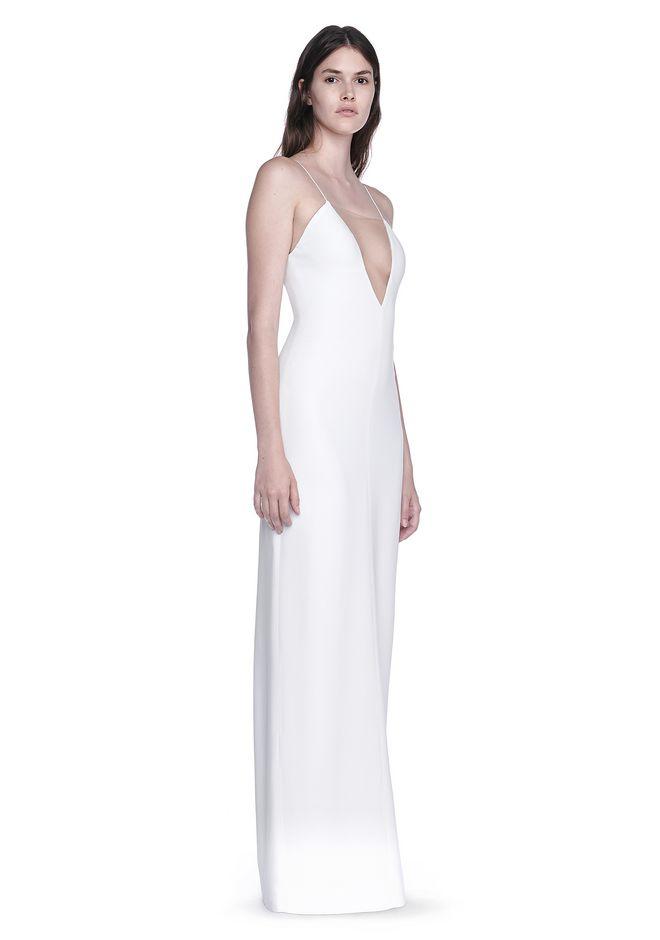 ALEXANDER WANG Long dresses Women V-NECK SLIP GOWN WITH SHEER INSERT