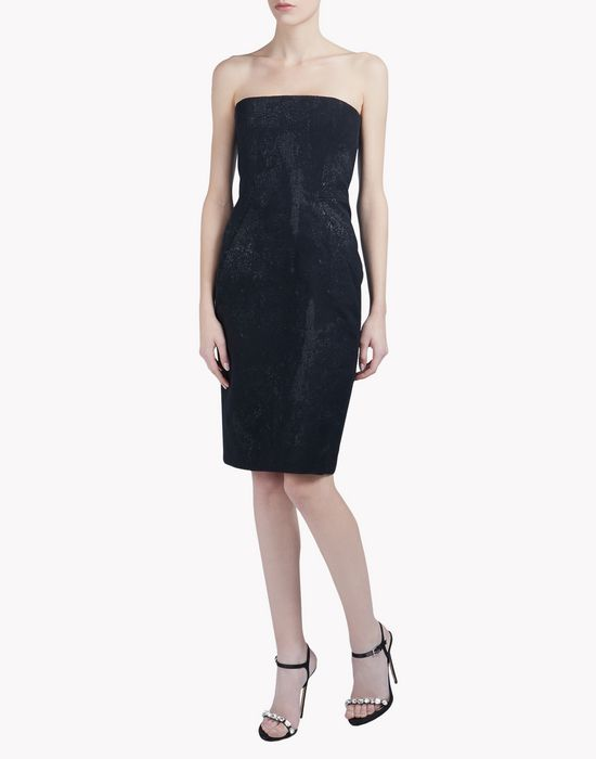 black shiny strapless dress dresses Woman Dsquared2