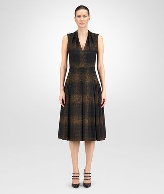 DRESS IN BLACK ANCIENT GOLD CANARD CHECK WOOL