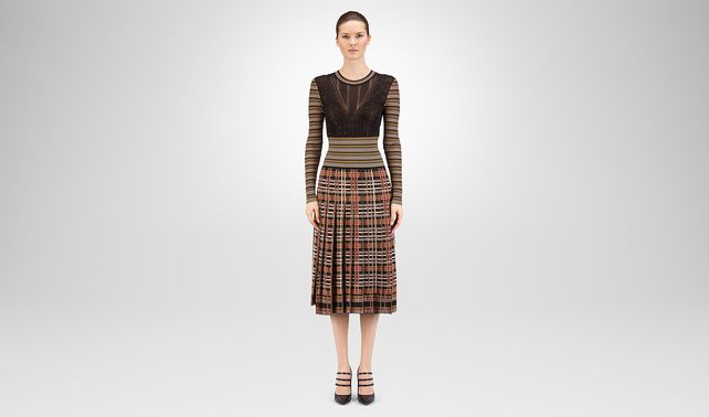 DRESS IN MULTICOLOR CHECK VISCOSE SWAROSKY EMBROIDERY