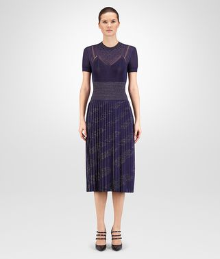 DRESS IN DARK LAVANDE LUREX VISCOSE JACQUARD SWAROVSKI EMBROIDERY