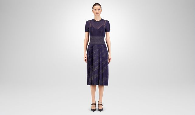 DRESS IN DARK LAVANDE LUREX VISCOSE JACQUARD SWAROSKY EMBROIDERY