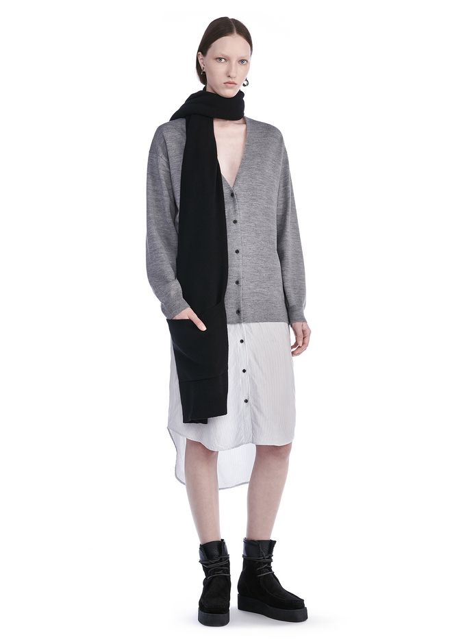 T by ALEXANDER WANG 3/4 Length dresses Women MERINO KNIT CARDIGAN WITH VISCOSE COMBO