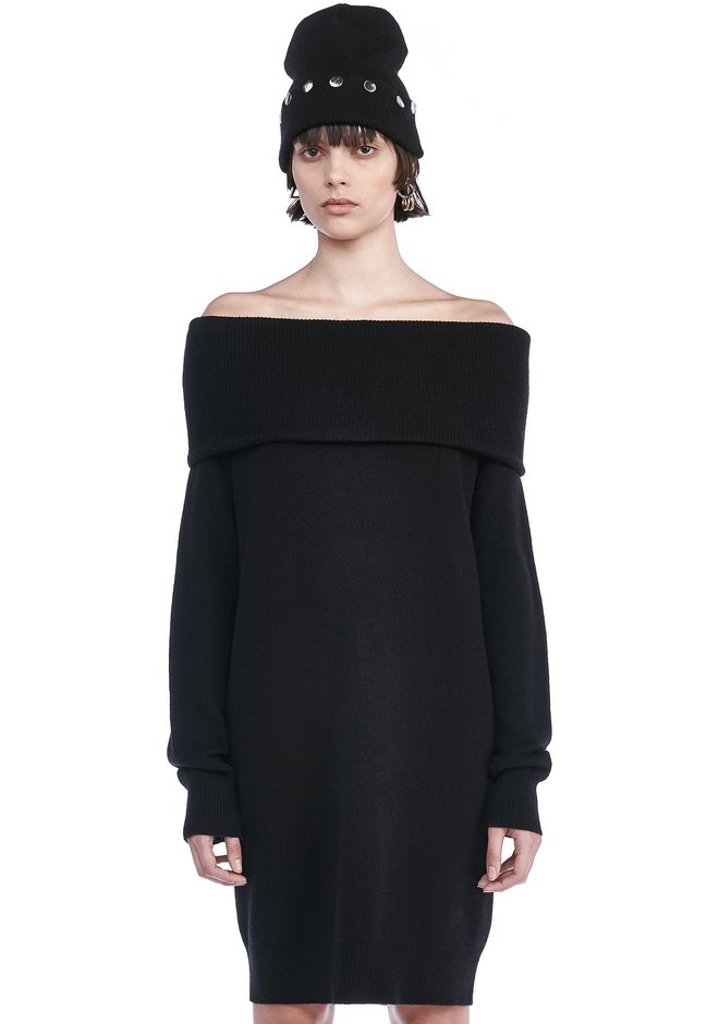 T by ALEXANDER WANG KNIT DRESSES CASHWOOL KNIT OFF THE SHOULDER PULLOVER DRESS
