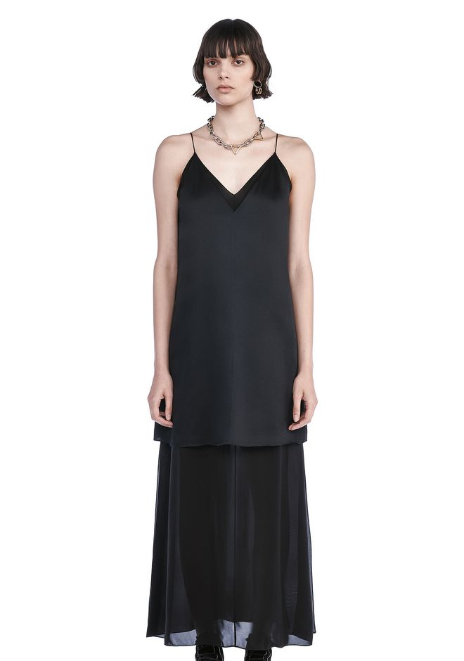 T by ALEXANDER WANG Long dresses CHARMEUSE SLIP DRESS WITH CHIFFON COMBO