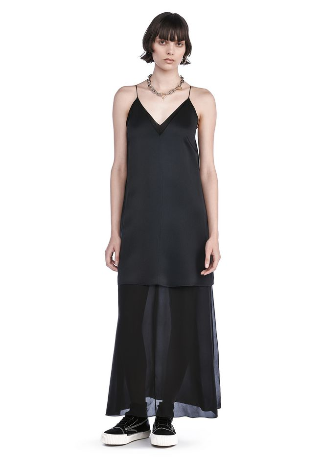 T by ALEXANDER WANG Long dresses Women CHARMEUSE SLIP DRESS WITH CHIFFON COMBO