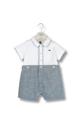 Armani Romper suits Men all-in-one with linen trousers and polo shirt with logo