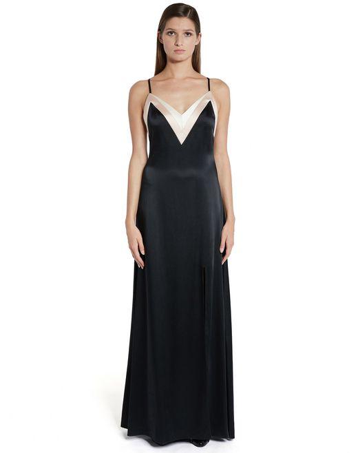 lanvin long satin dress women