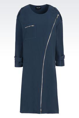 Armani Vestiti Donna abito in pura seta con zip e linea svasata