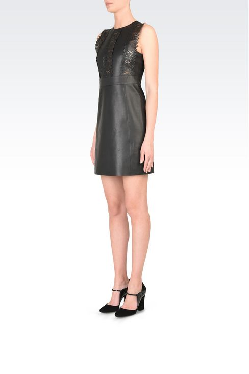 Leather princess dress with openwork detail: Appliqué dresses Women by Armani - 3