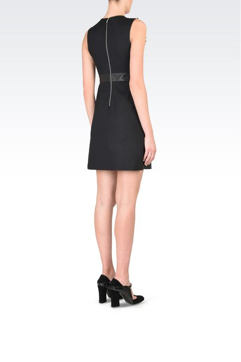 Leather princess dress with openwork detail: Appliqué dresses Women by Armani - 4