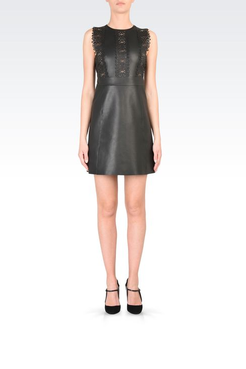 Leather princess dress with openwork detail: Appliqué dresses Women by Armani - 2